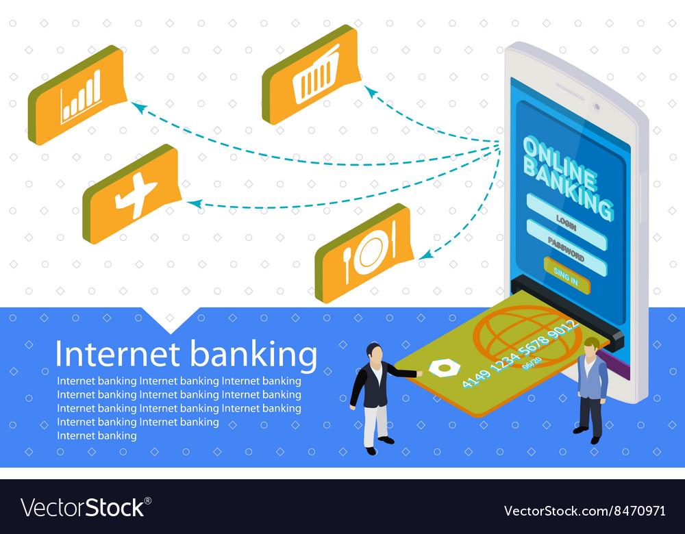 Flat 3d Internet banking banner vector image
