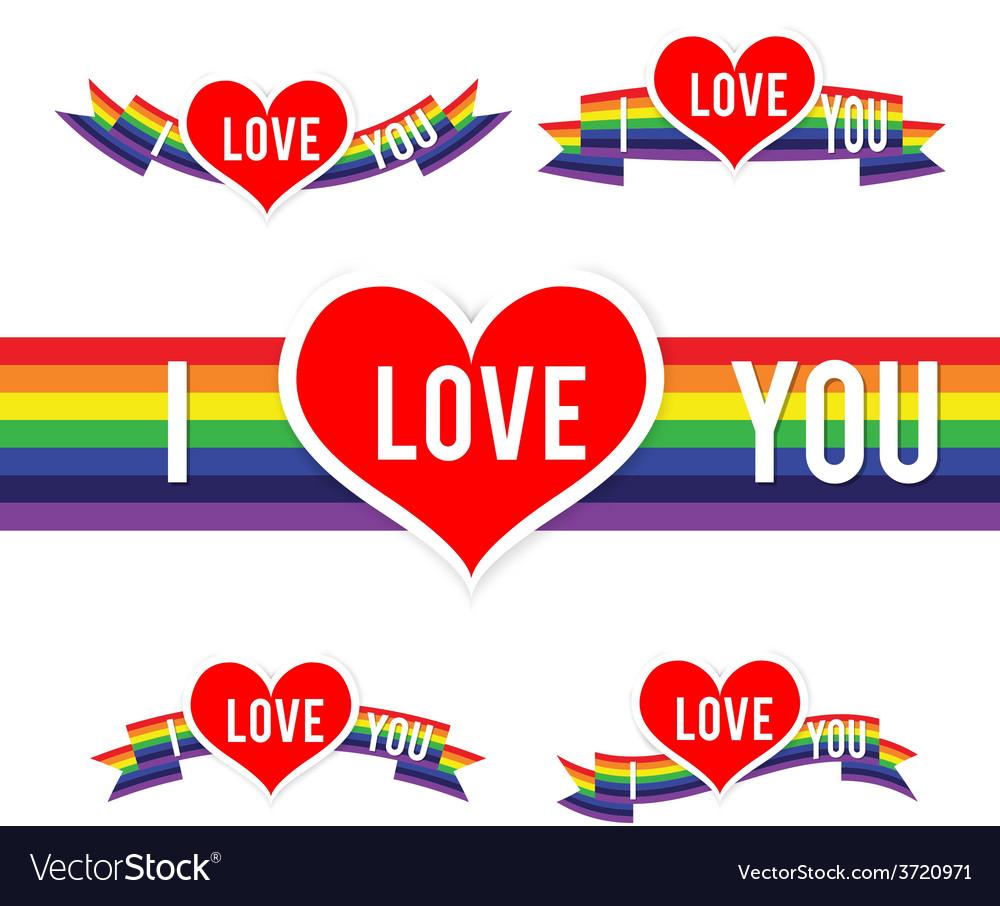 Happy Valentine Heart and Rainbow Ribbon 001