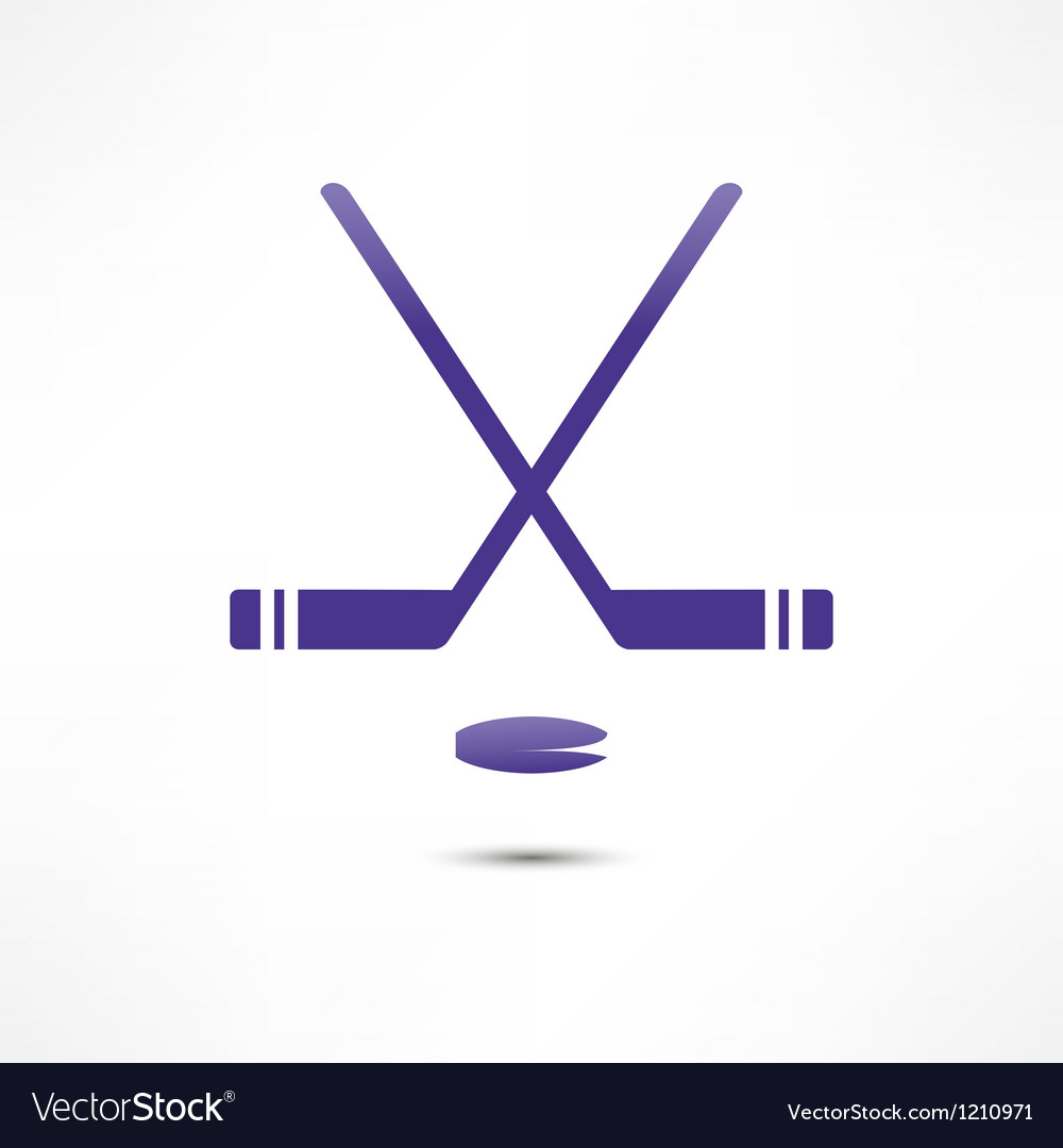 Hockey Stick And Puck Icon vector image