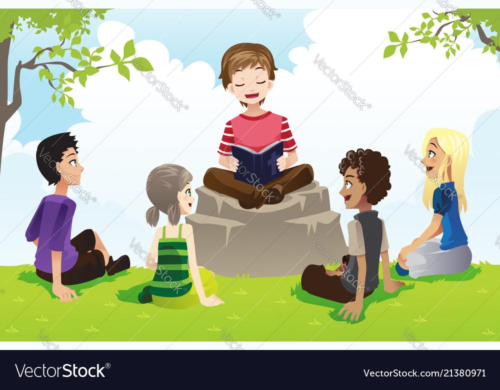 kids studying bible royalty free vector image vectorstock