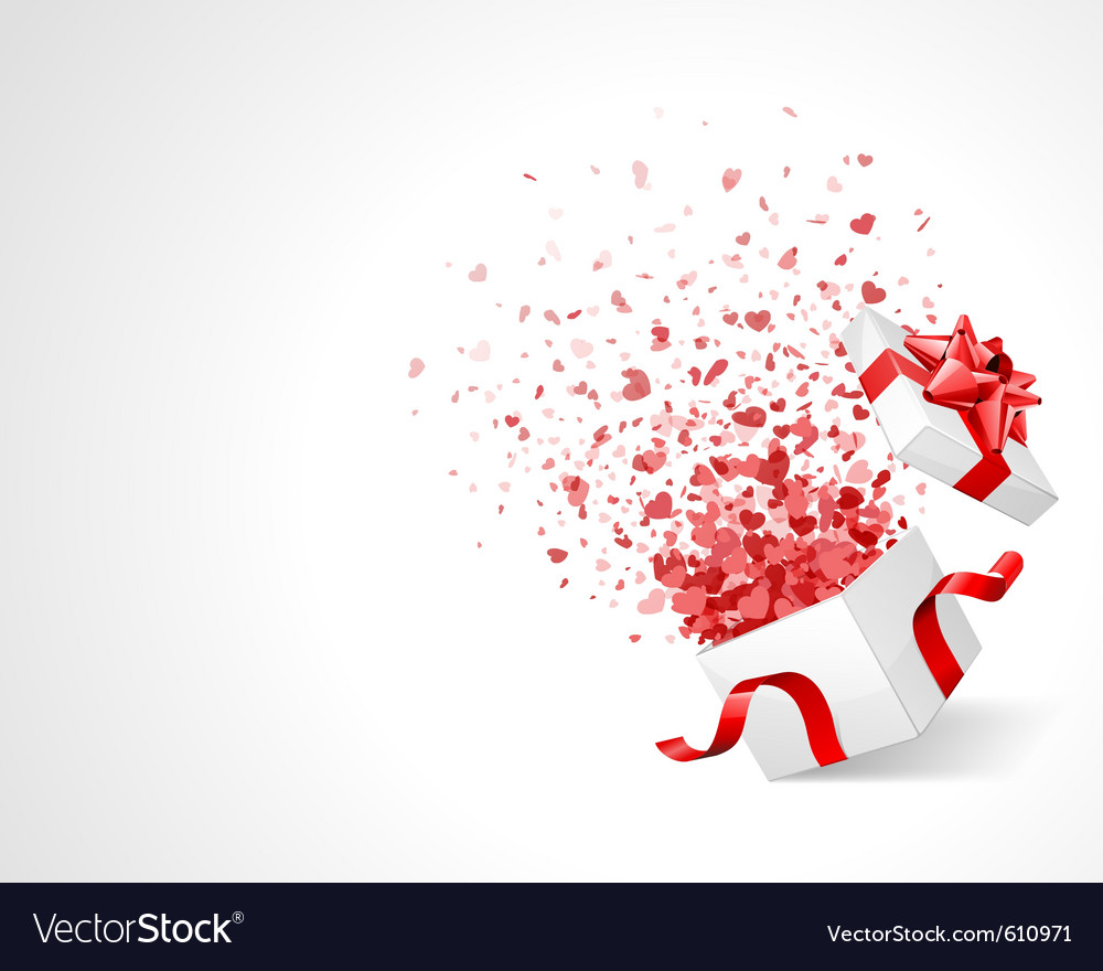 Open gift with fireworks from heart confetti