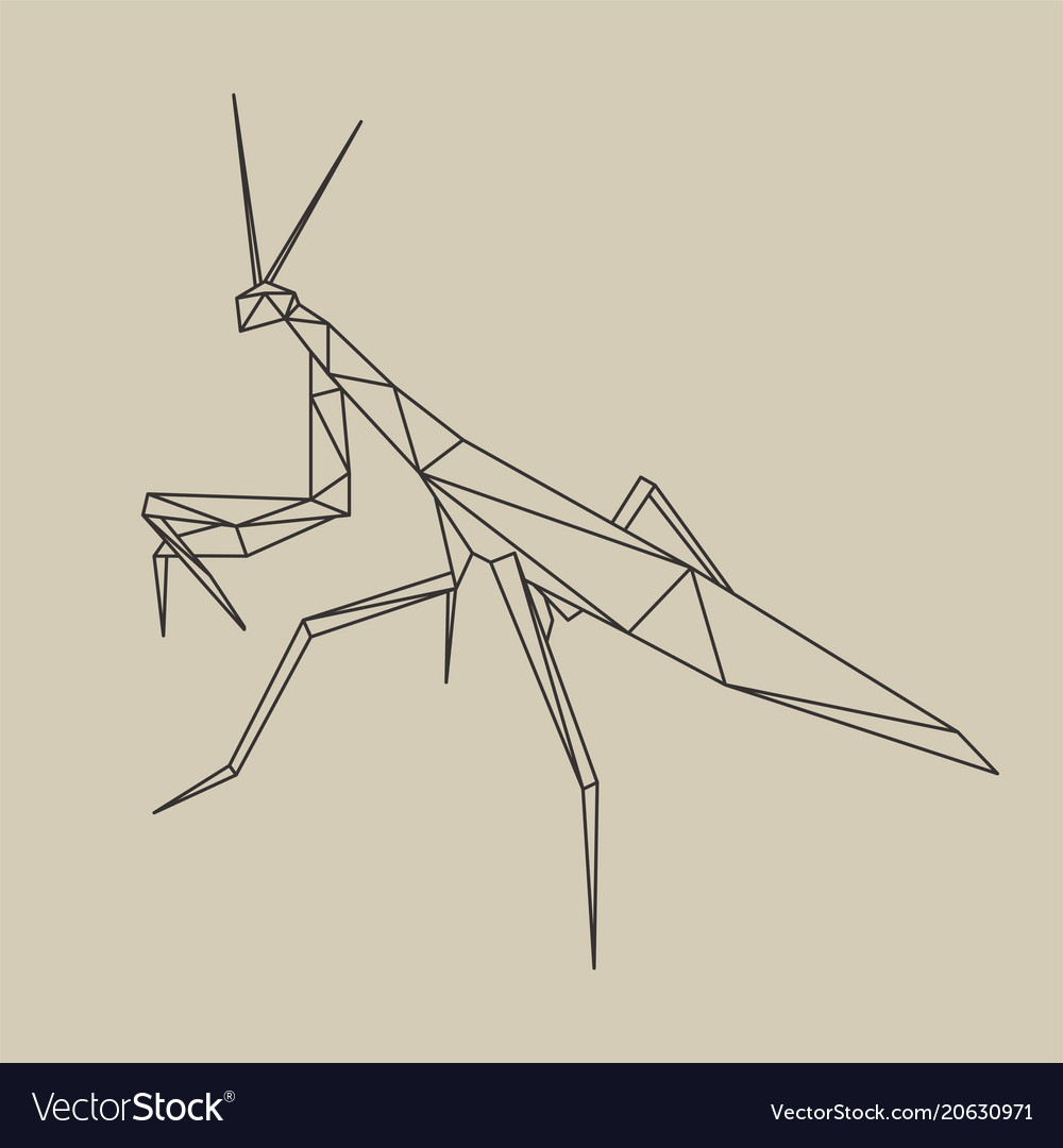 Origami polygonal line style mantis