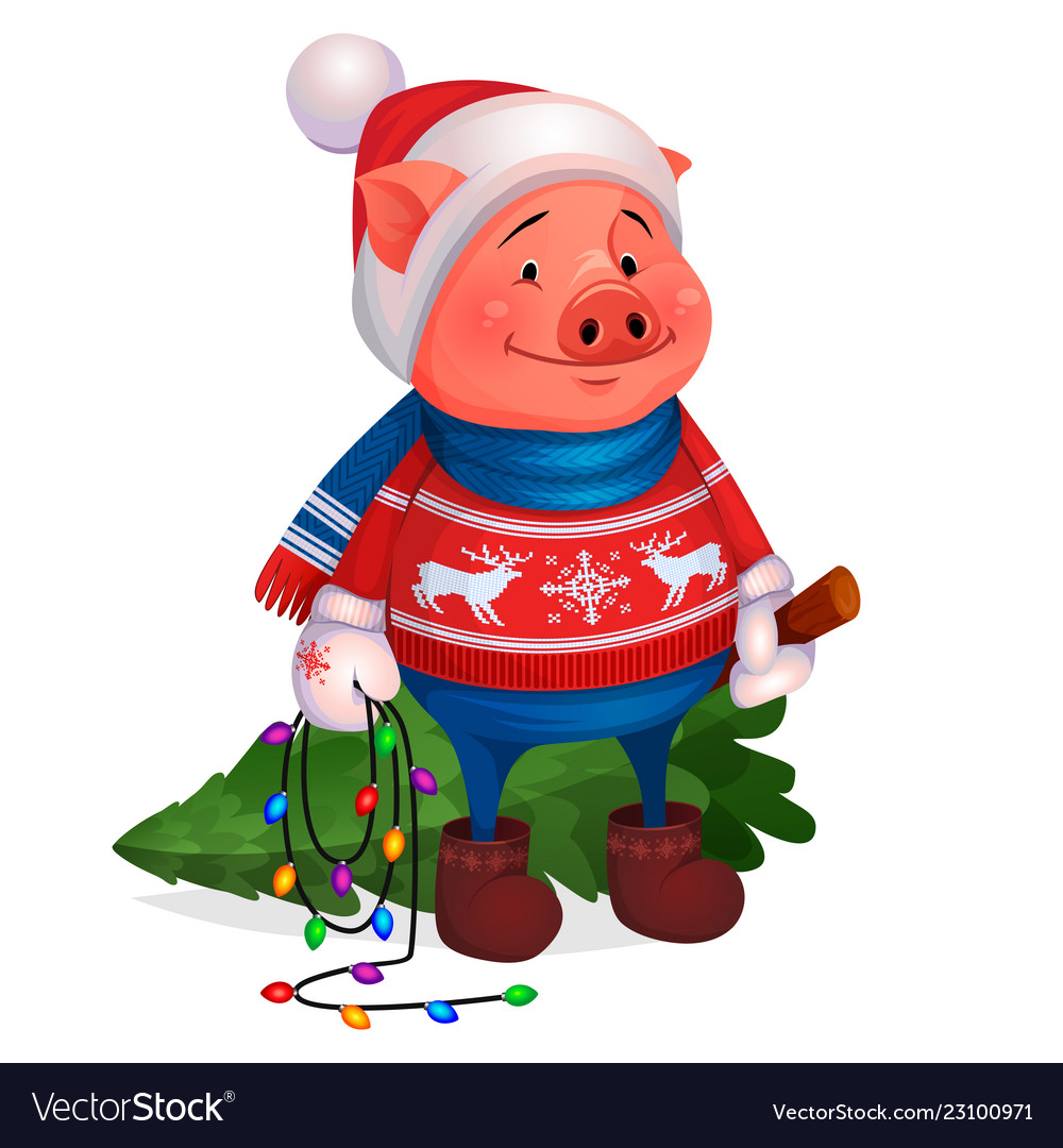 Pig in sweater holding christmas tree new year