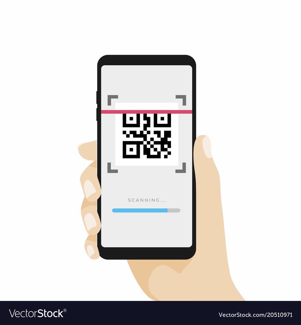 Scan qr code with mobile phone vector image