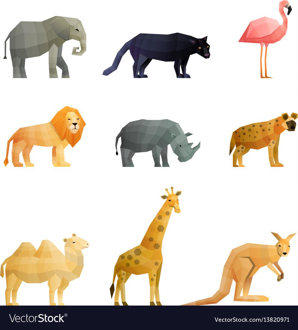 Southern wild animals polygonal icons set