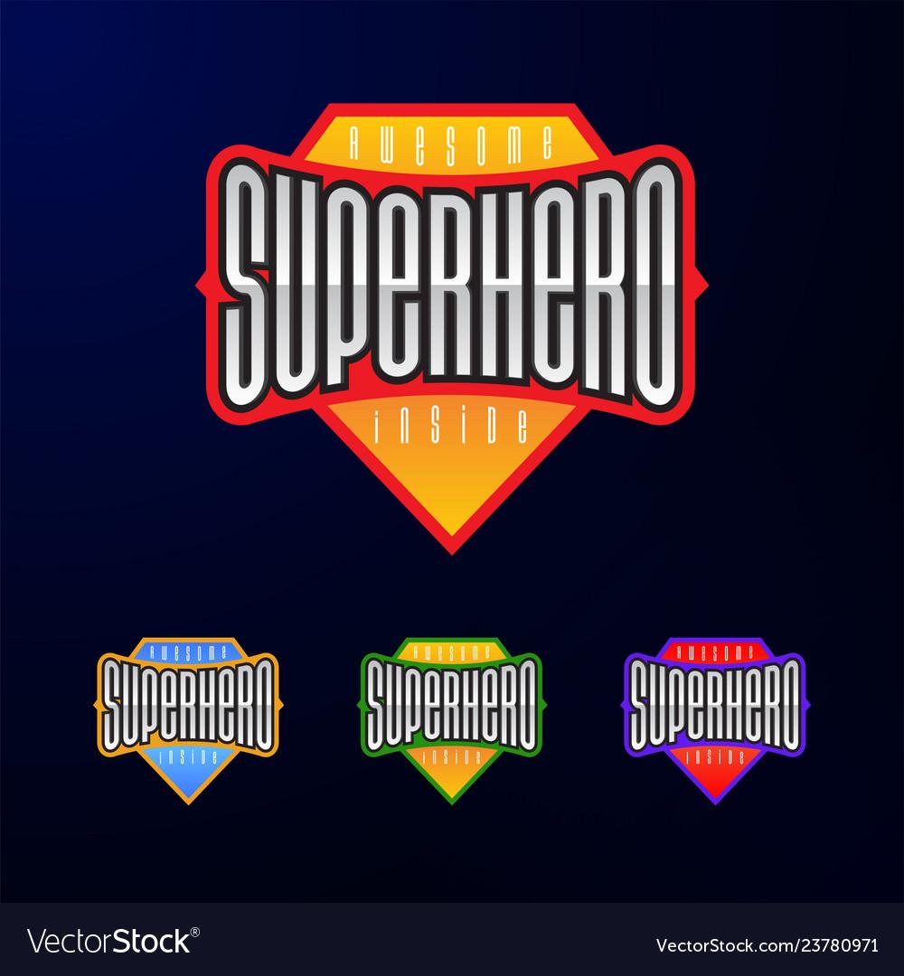 Sport emblem typography super hero logotype