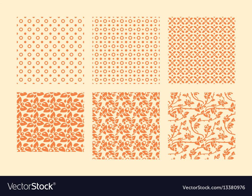 Autumn botanical seamless pattern set