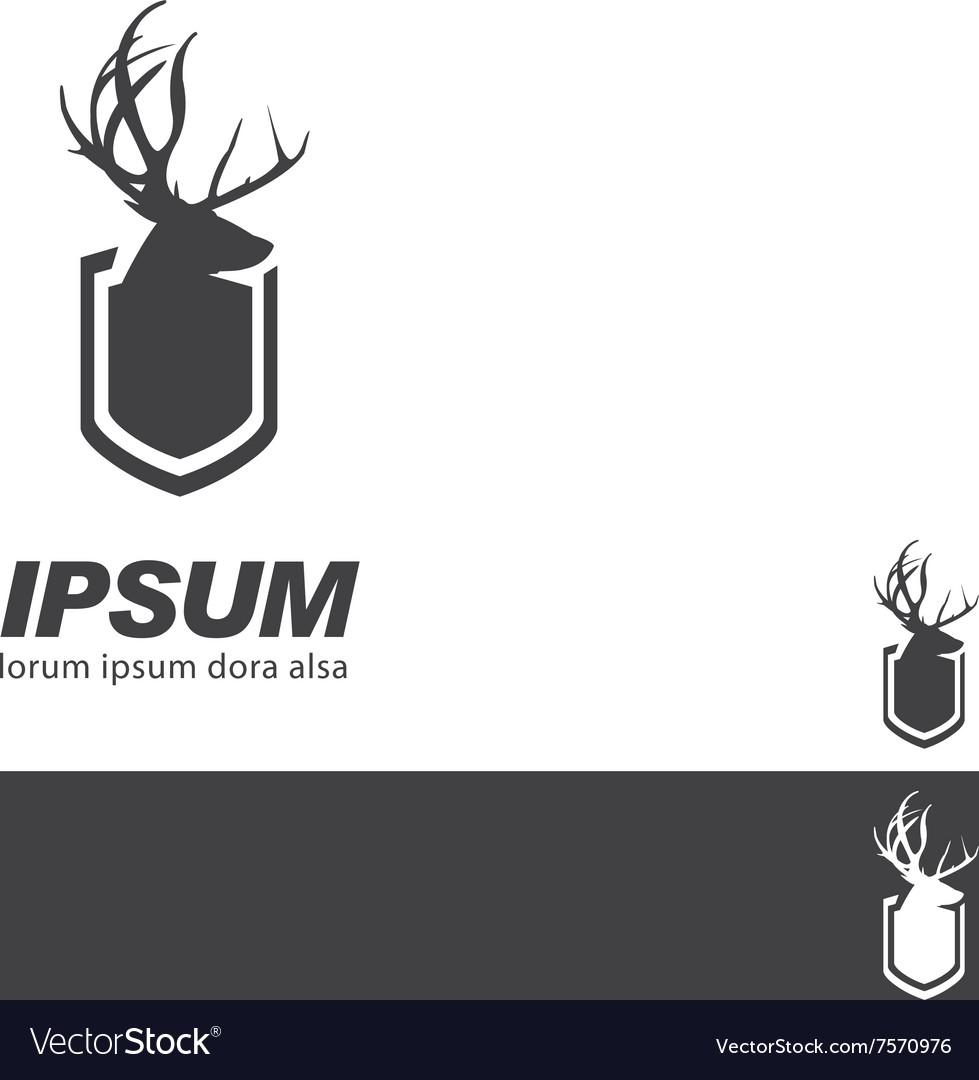 Deer Stag Head sign badge label branding template vector image