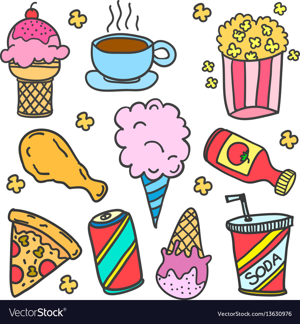 Doodle of food various with drink vector image