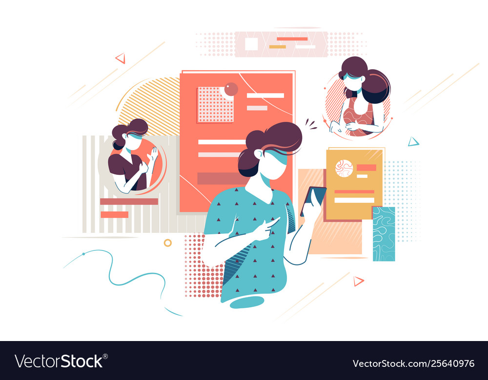 Flat young woman silhouette with mobile phone for