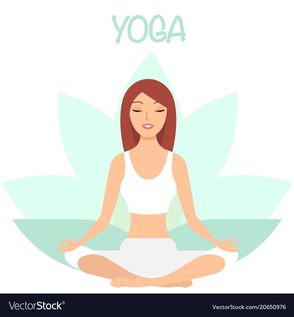 Girl Enjoying Yoga Cartoon Character Royalty Free Vector