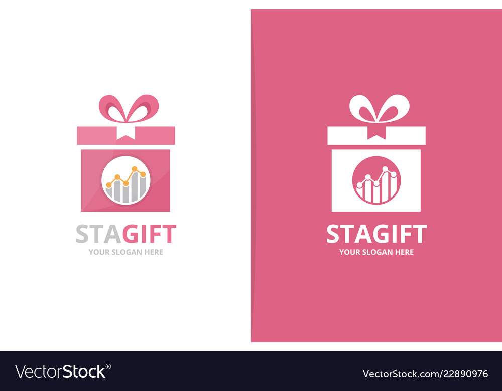 Graph and gift logo combination diagram
