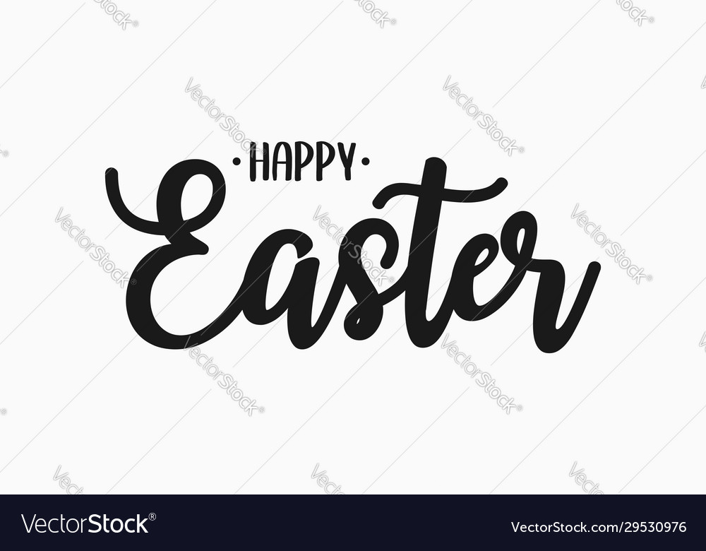 Happy easter text banner easter lettering