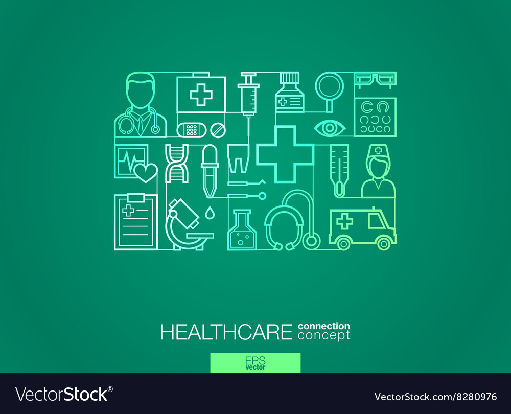Healthcare Integrated Thin Line Symbols Modern Vector Image Circuit Components
