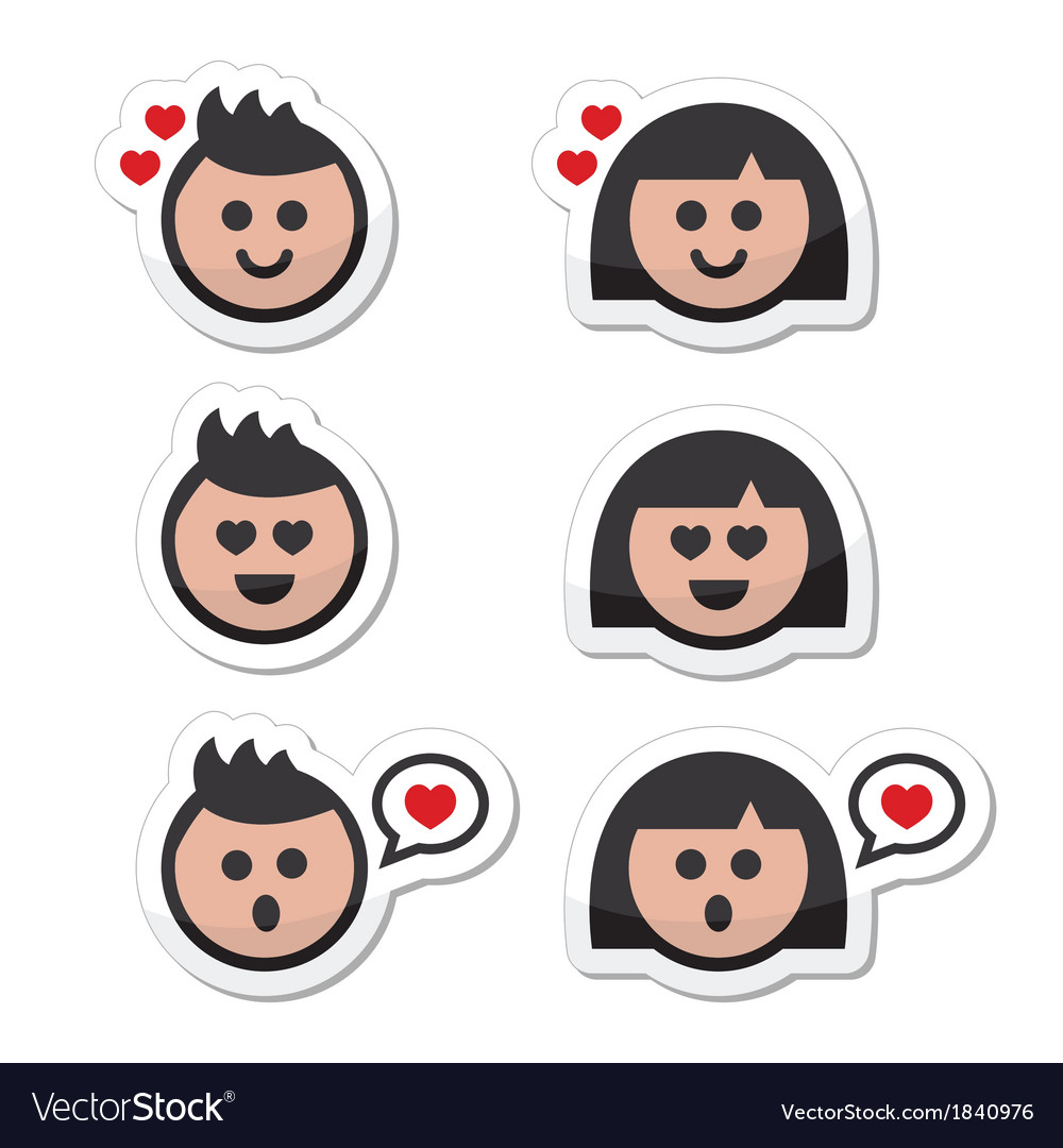 Man and woman in love valentines icons set