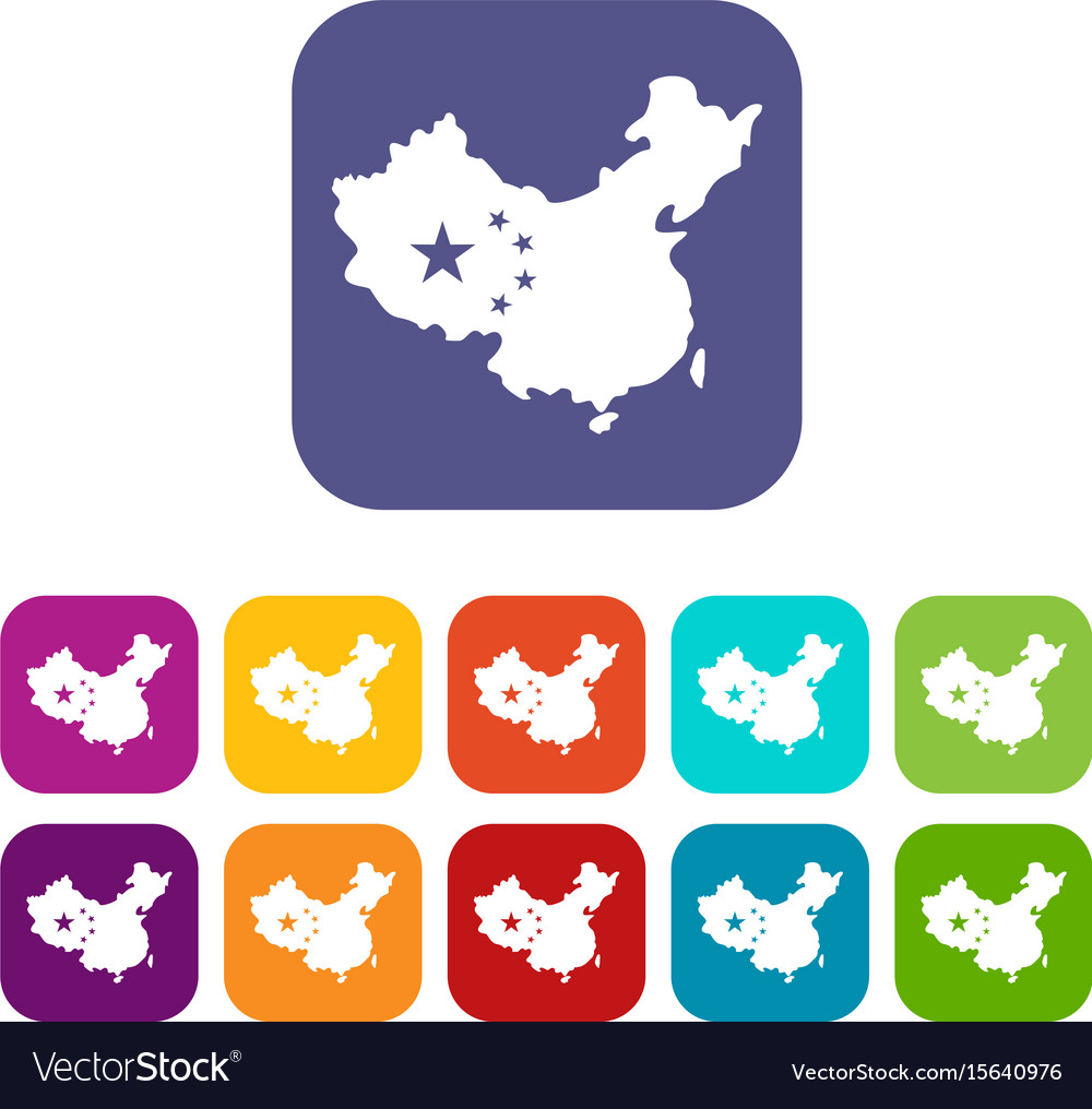 Map of china icons set flat