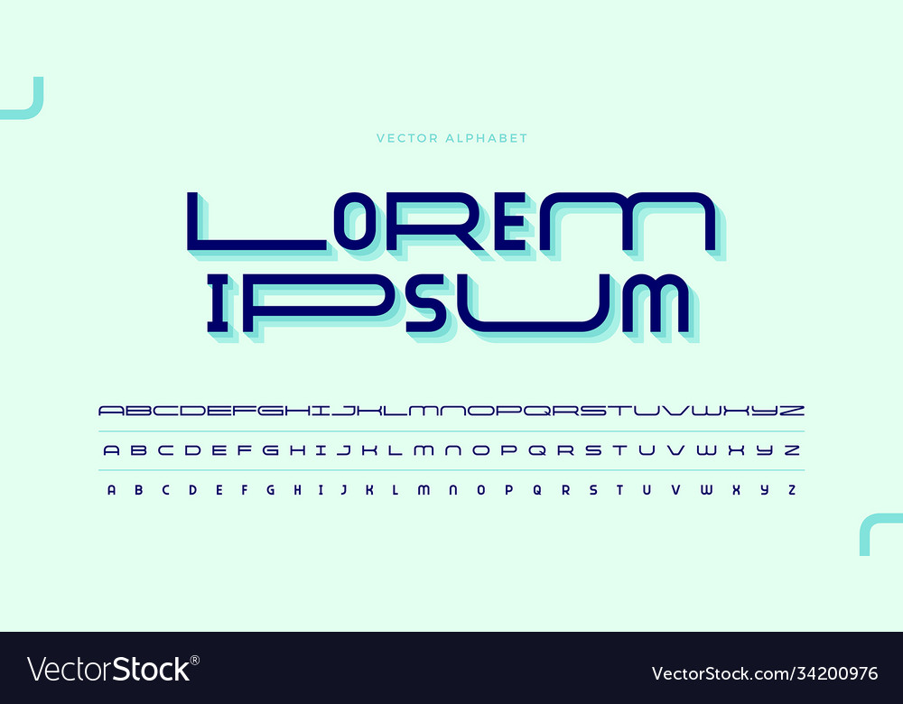Modern minimal font typeface set