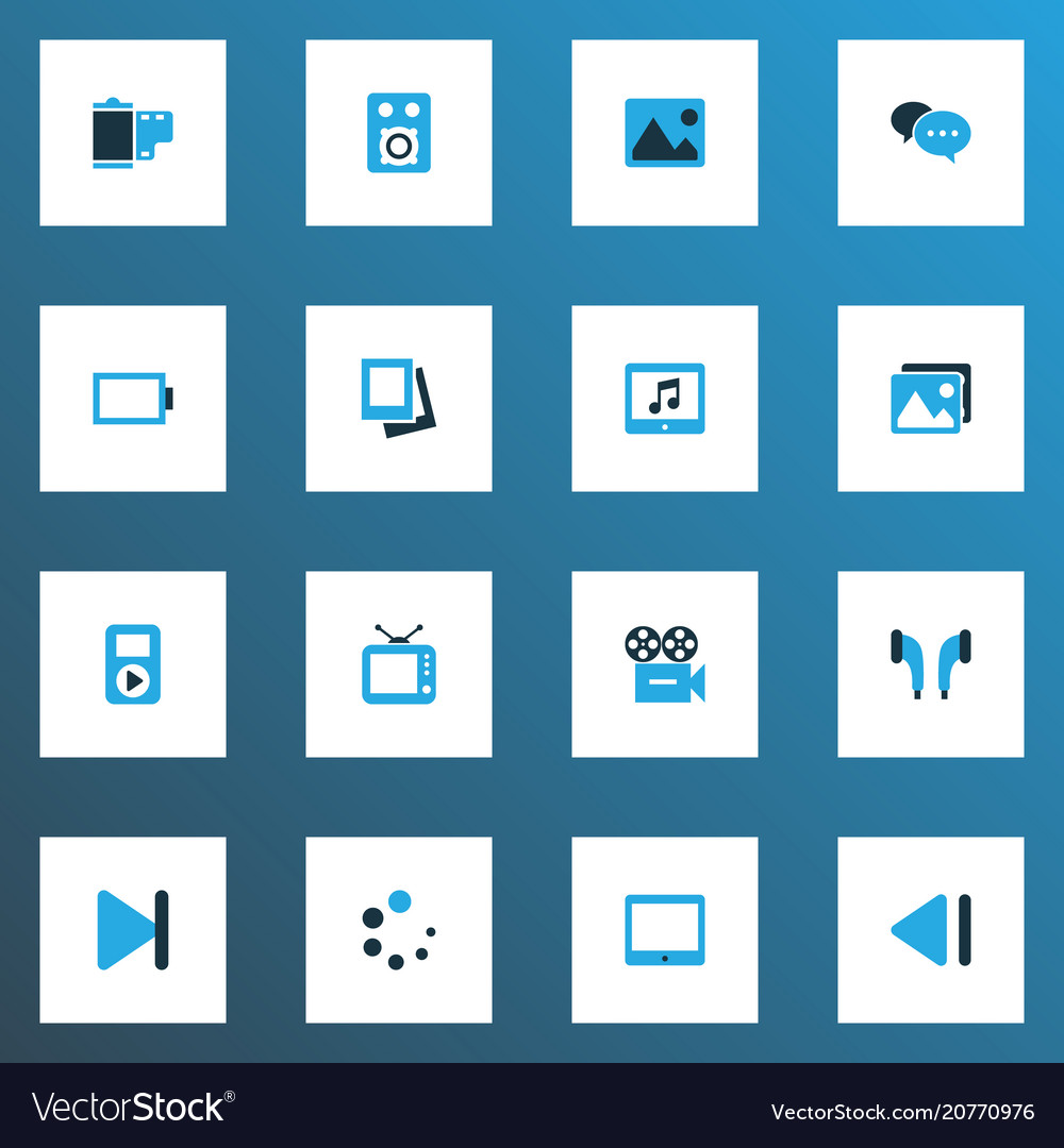 Multimedia icons colored set with image end slow vector image