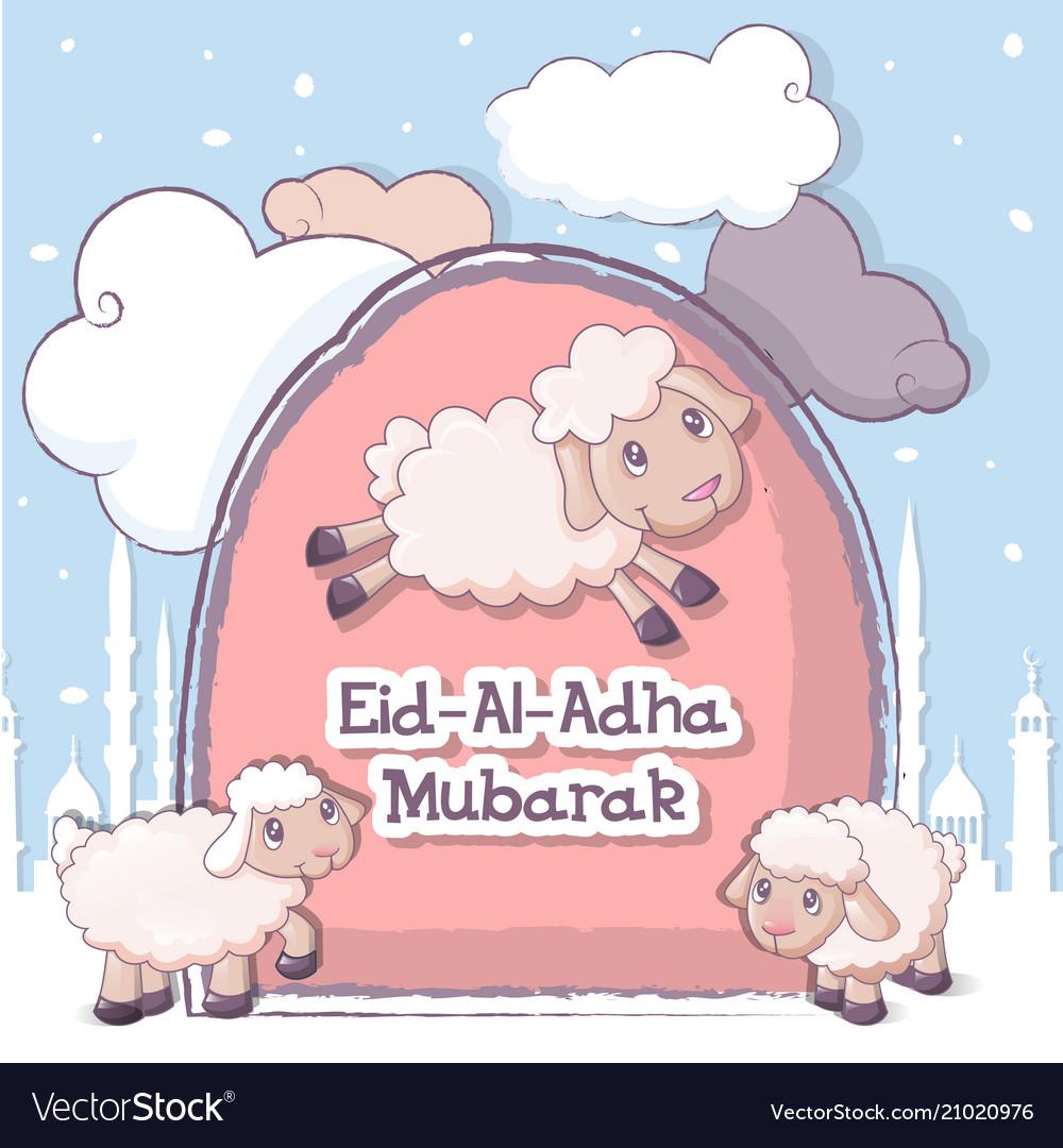 Muslim festival eid-ul-adha banner cartoon style