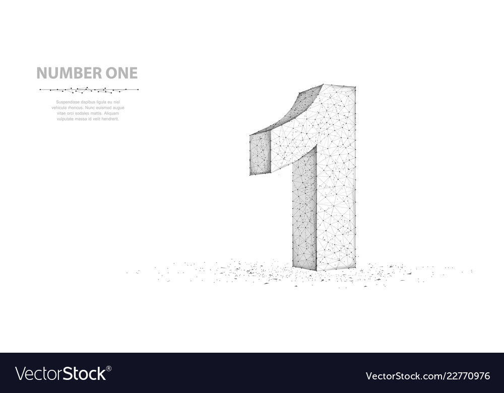 One abstract 3d wireframe number 1 sign isolated
