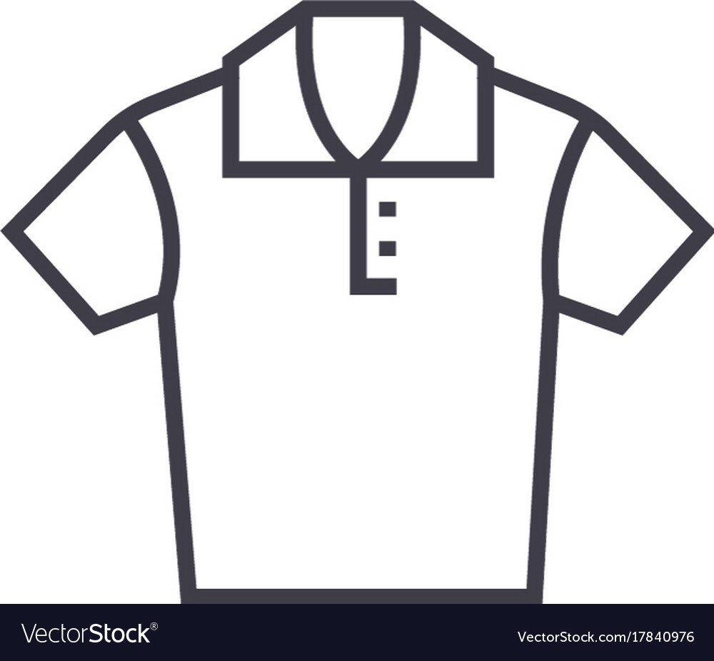 Polo shirt line icon sign on vector image