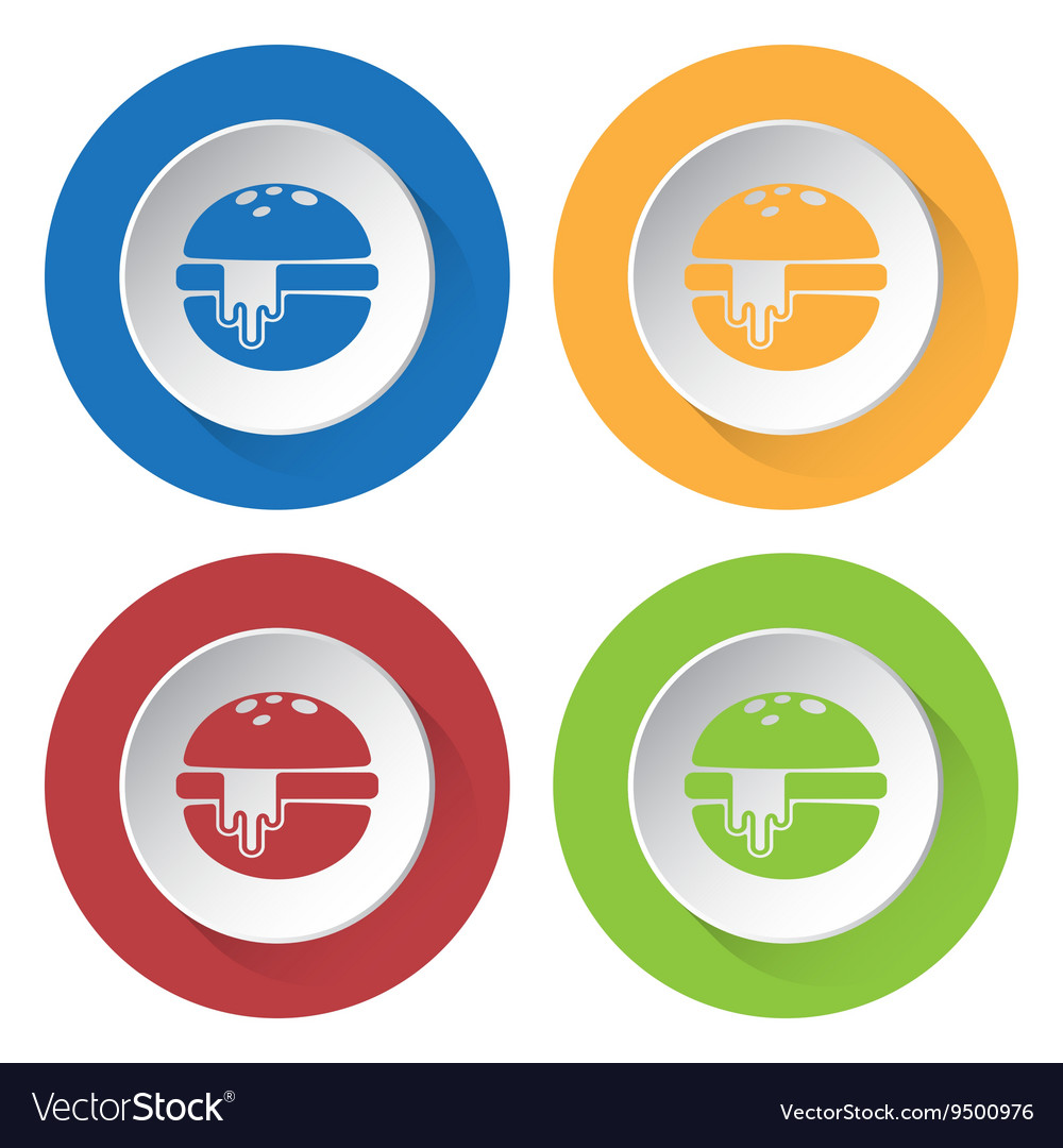 Set of four icons - hamburger with melted cheese