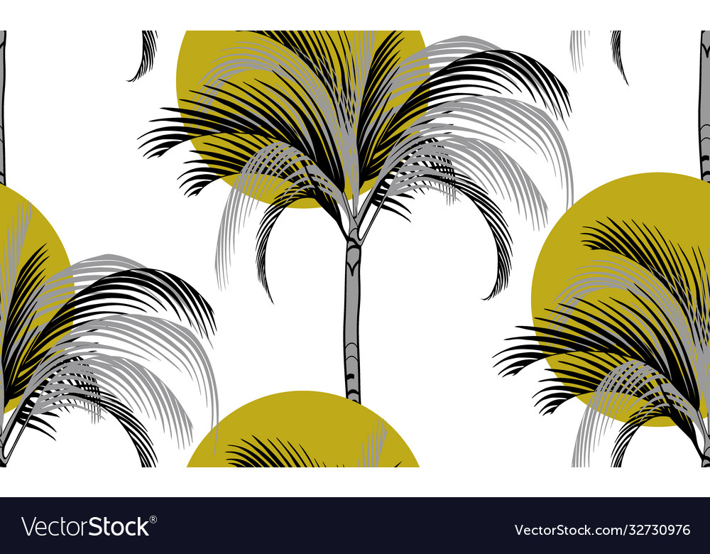 Sun and palm tropical pattern on white background