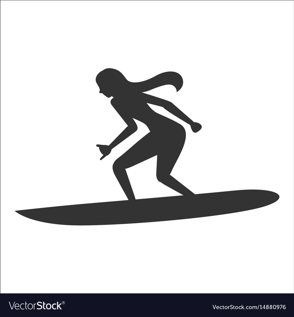 Surfing Silhouette Of A Woman