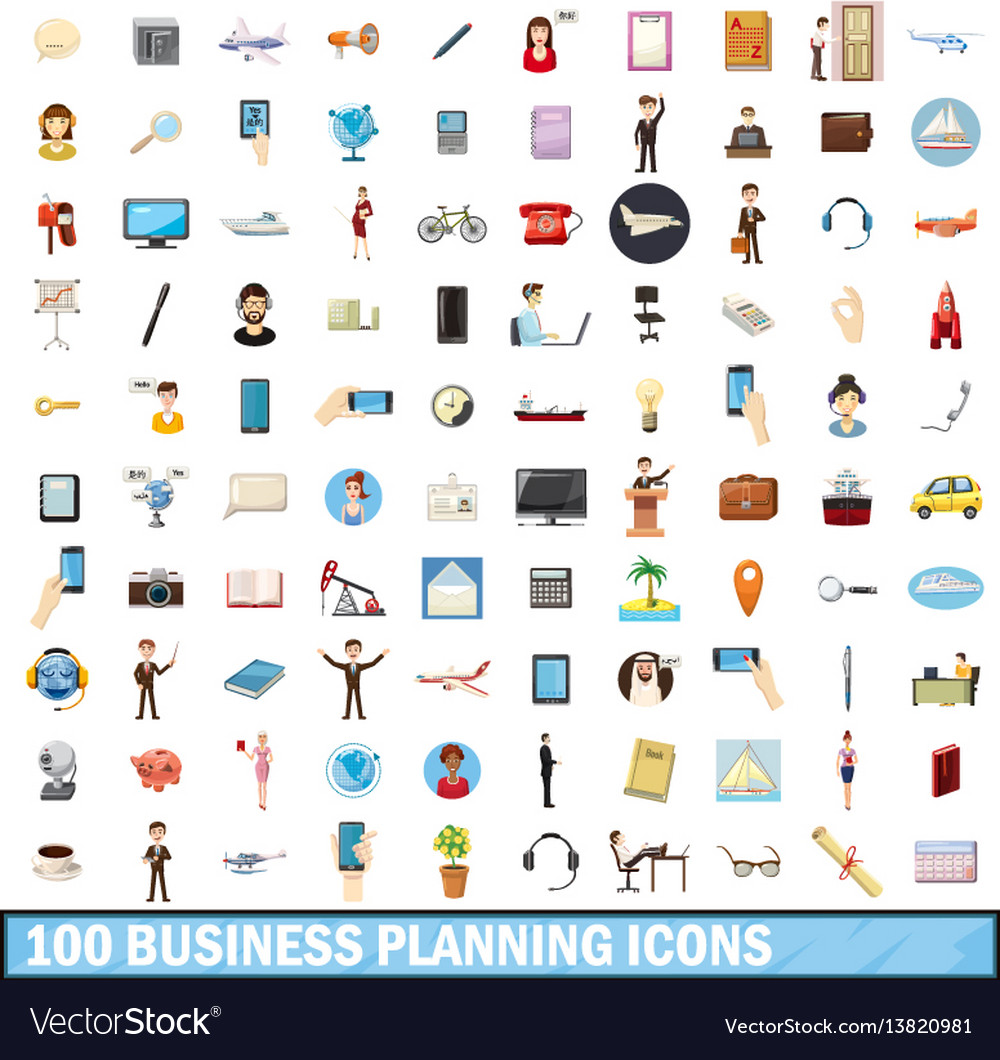 100 busness planning icons set cartoon style