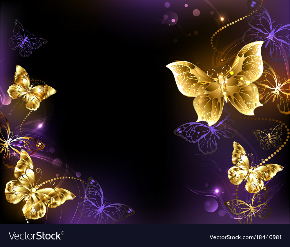Background with gold butterflies Royalty Free Vector Image