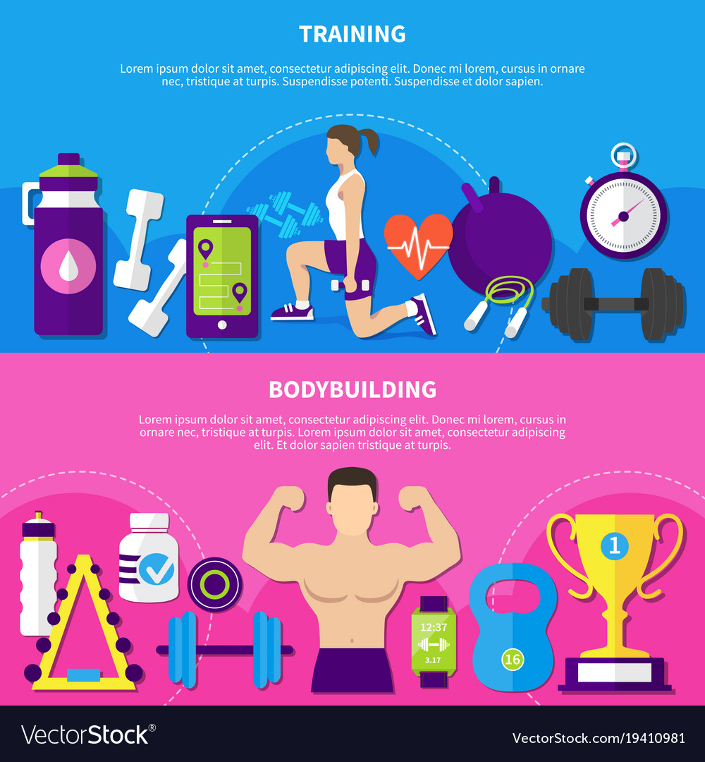 Bodybuilding training banners
