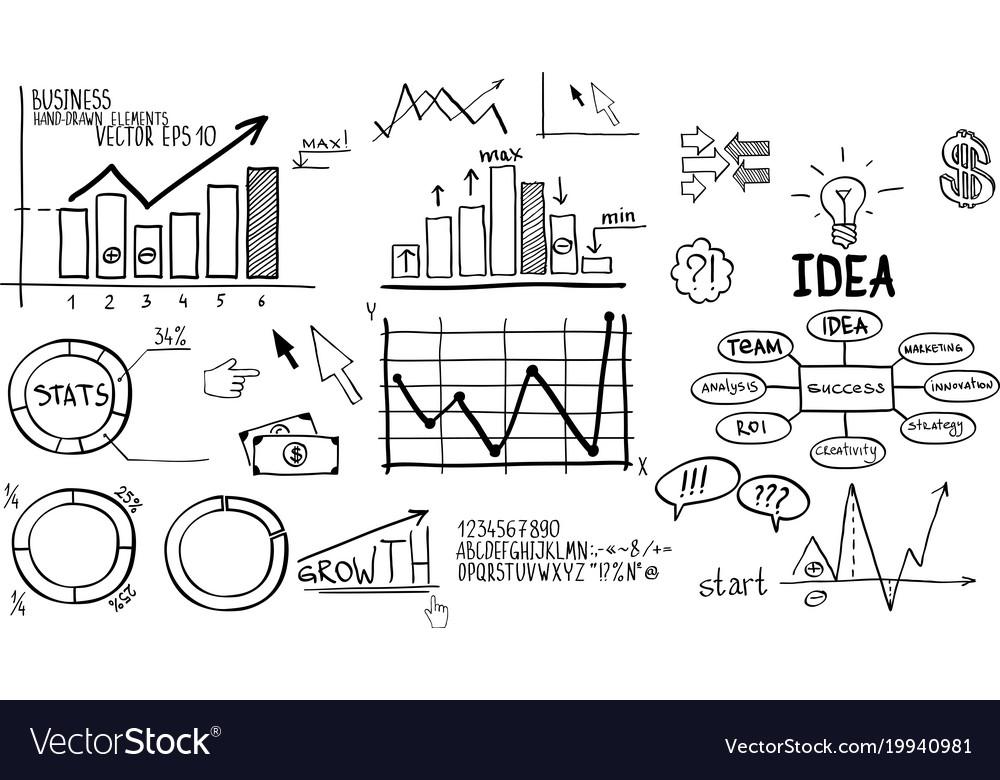 Business finance elements hand-drawn