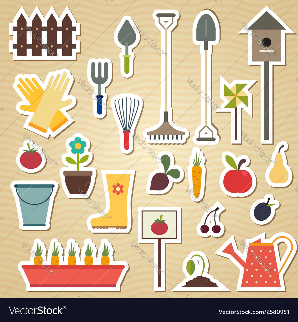 Garden and gardening tools icon set on a light