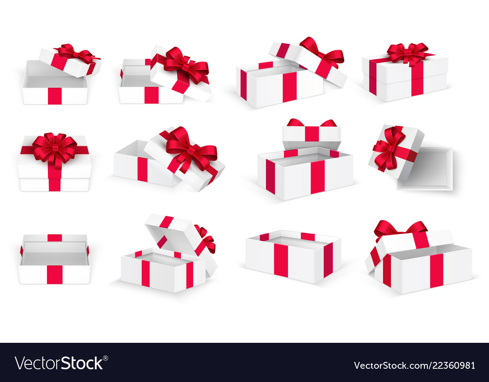 Gift boxes white open present empty box with red