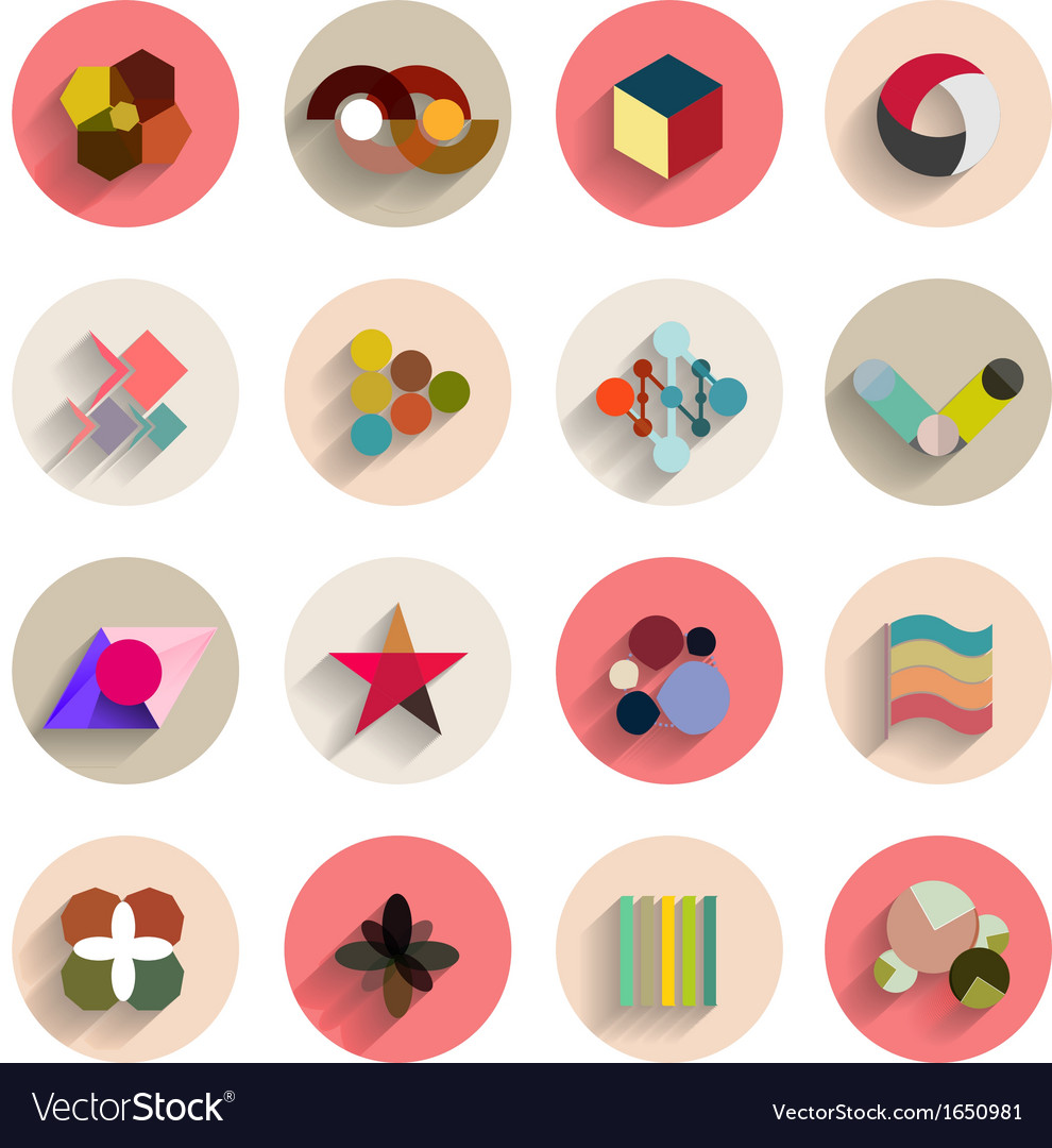 Set of geometric abstract flat icons