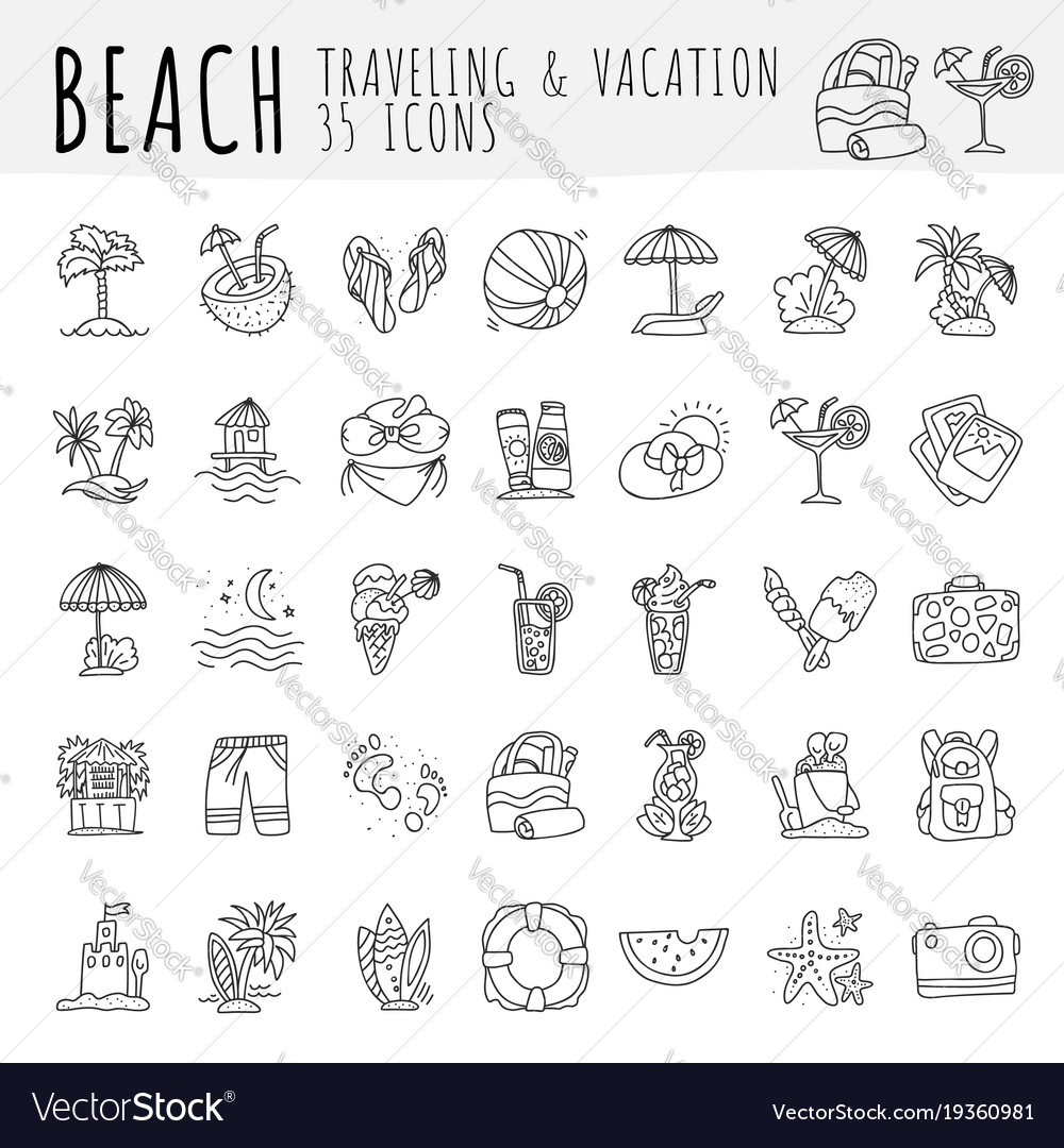 Summer tropical beach icon collection hand draw