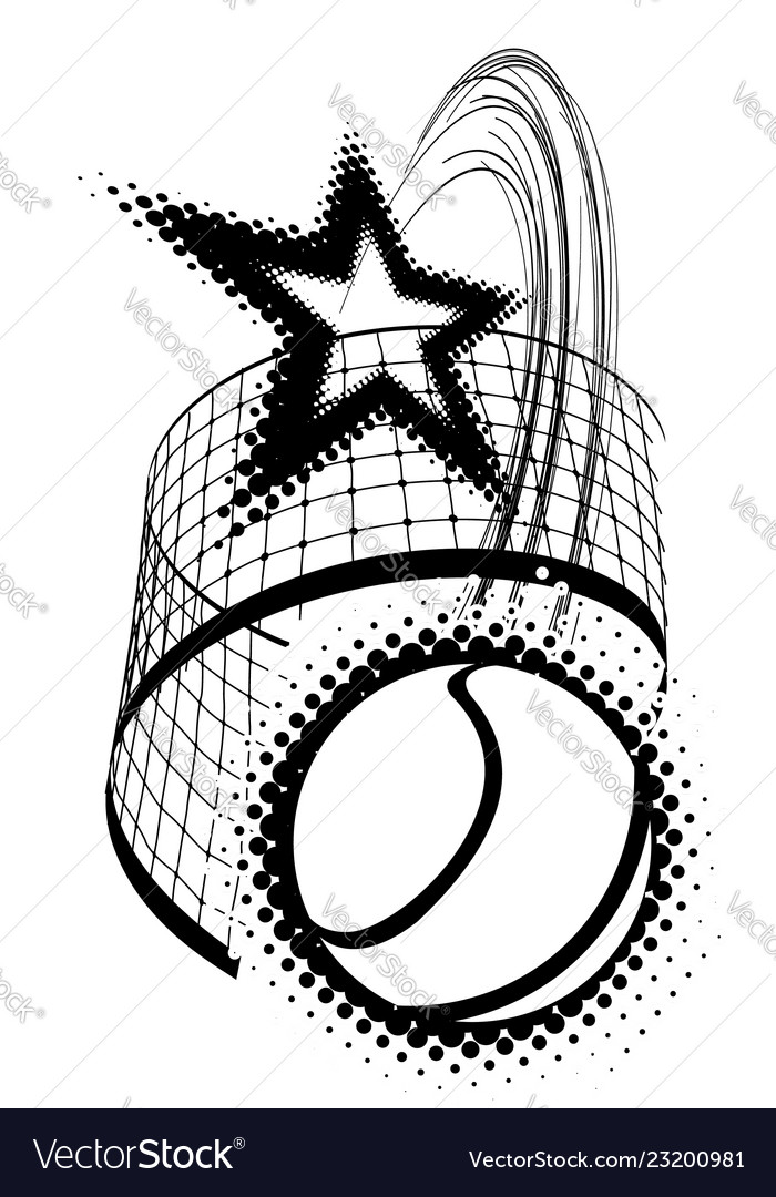 Tennis ball with star isolated