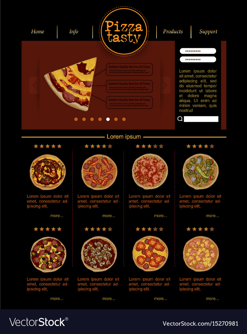 Web site template with varieties of pizza vector image