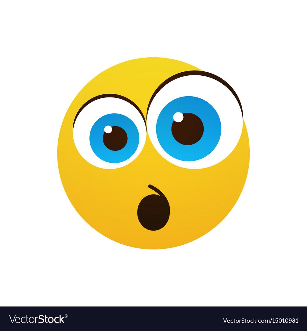 Yellow cartoon face shocked people emotion icon