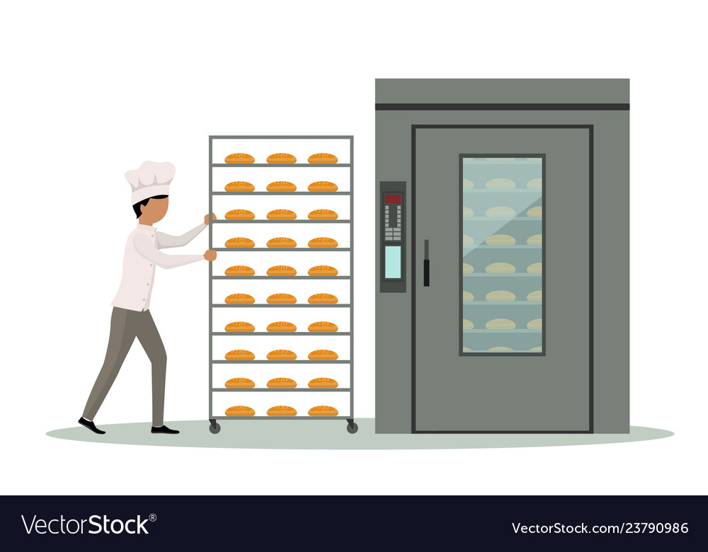 Baker carrying rack full of bread to an industrial