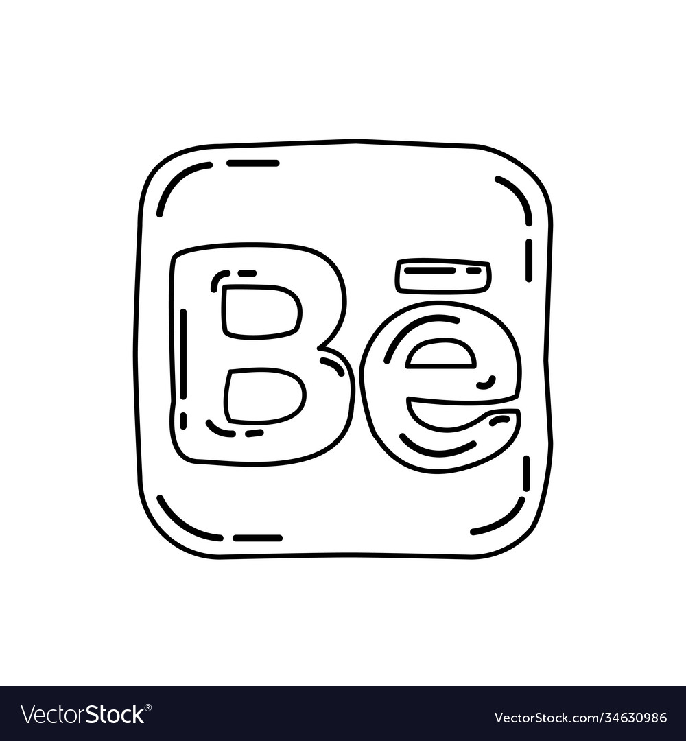 Behance icon doodle hand drawn or black outline