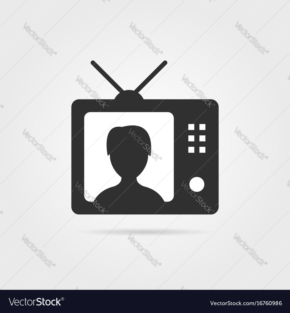 Black tv with shadow and anchorwoman icon vector image
