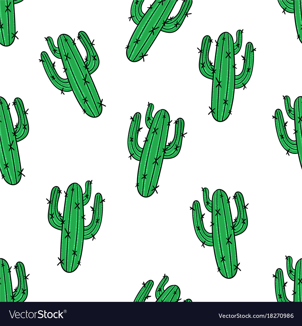 Cactus seamless pattern modern fashion background