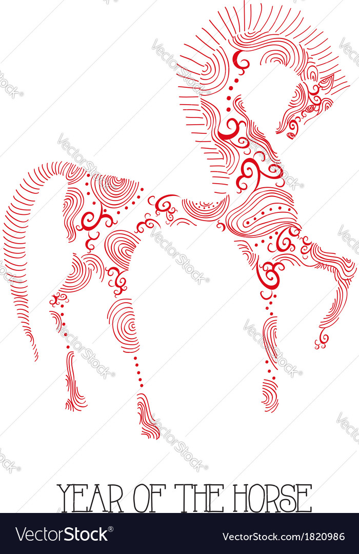 Chinese new year of the Horse abstract sketch