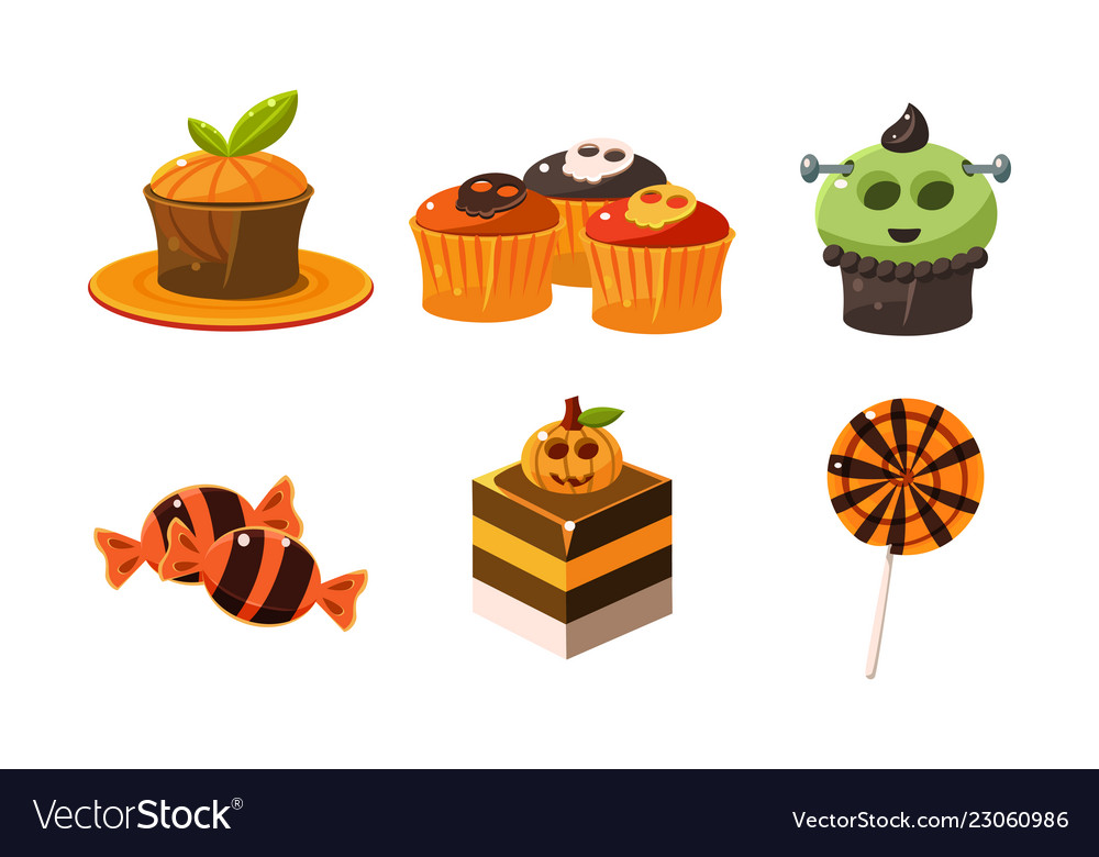 Collection of colorful halloween sweets candies