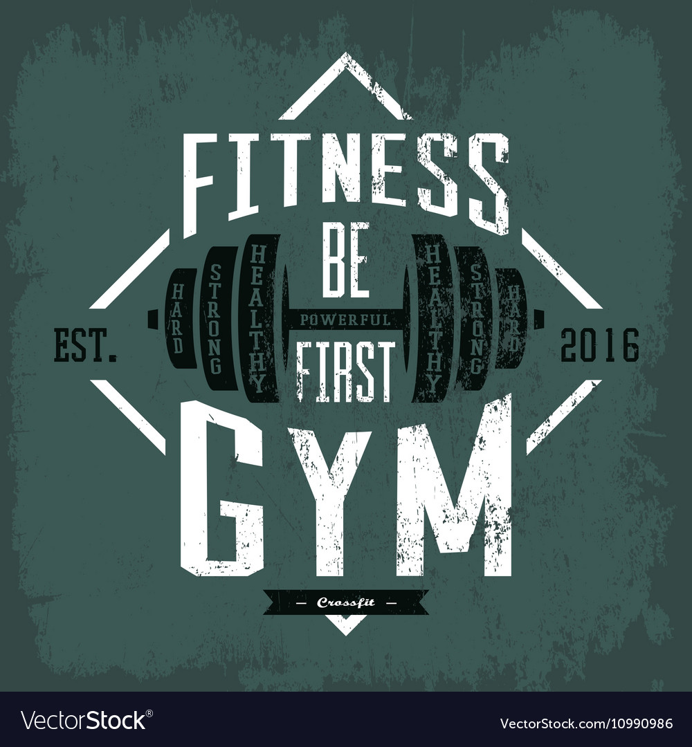Dumbbell or barbell print on sportswear cloth vector image