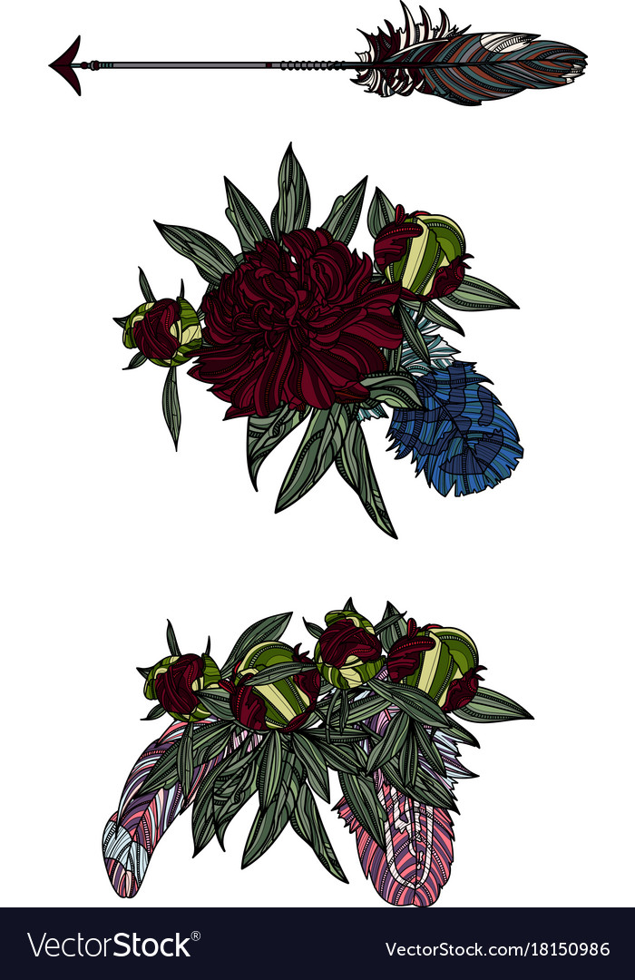 Ethnic arrow bouquets and feathers vector image
