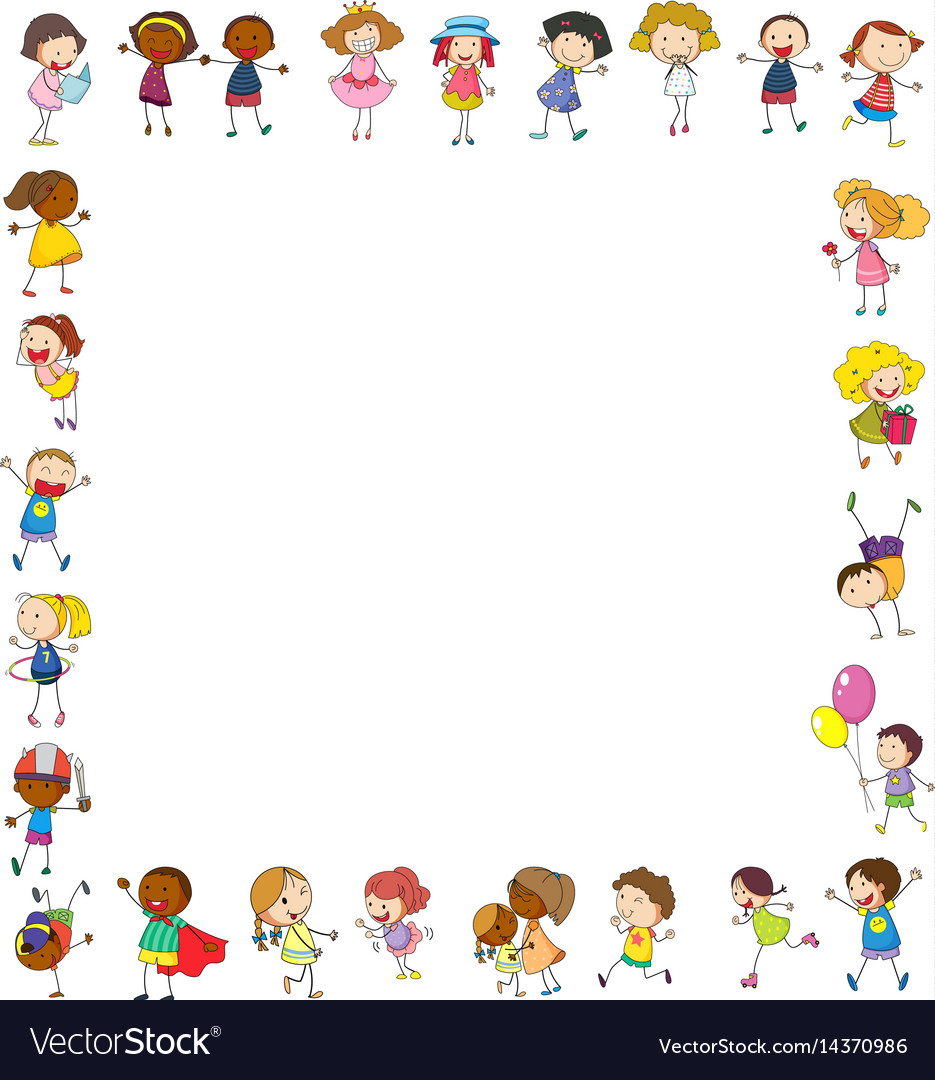 Frame template with happy children vector image