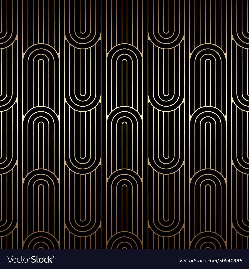Golden art deco pattern seamless linear background