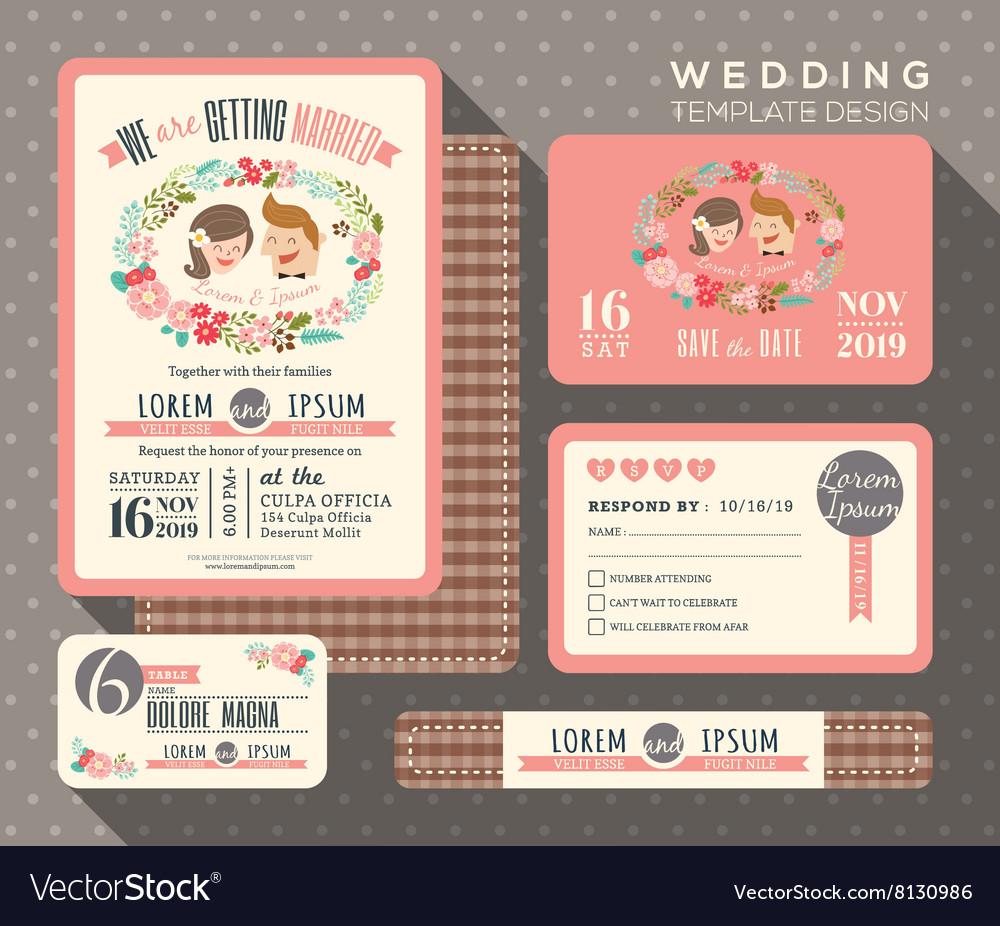 Groom and bride cartoon retro wedding invitation